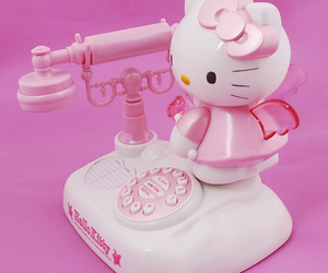 hello kitty, phone, and pink image