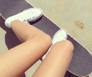 skateboard, converse, and summer image