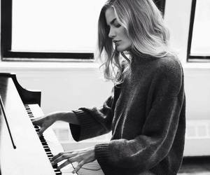 girl, piano, and hair image