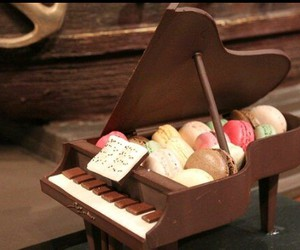 chocolate, piano, and macaroons image