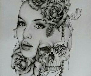 girl, skull, and black image