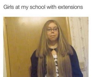 extensions, funny, and girls image