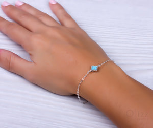 bridesmaid bracelet, good luck bracelet, and turquoise silver image