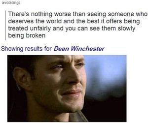 supernatural, dean winchester, and sad image