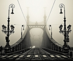 bridge, black and white, and budapest image