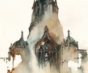 art, watercolor, and architecture image