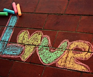 love, chalk, and colors image