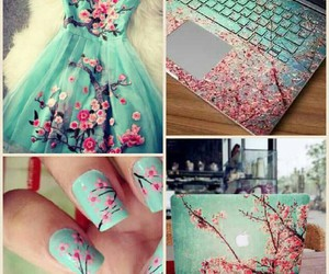 nails, dress, and flowers image