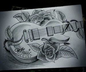 art, drawing, and guitar image