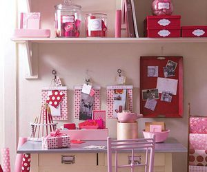 pink, home office, and ideas image