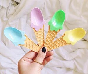 spoon, ice cream, and art image