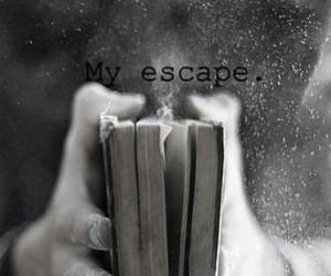 b&w, book, and escape image