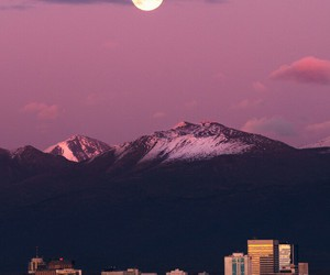 moon, city, and mountains image
