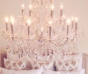chandelier, bedroom, and decor image