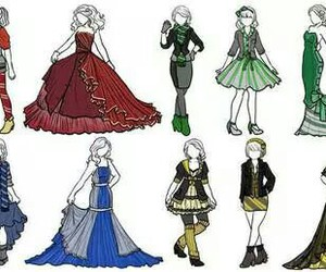dress, outfits, and fanart image
