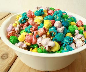 food, popcorn, and pastel image