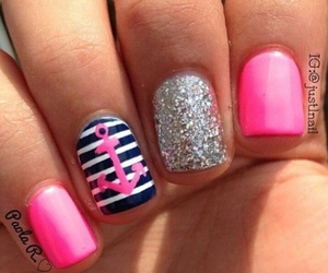 nails, pink., and stripes image