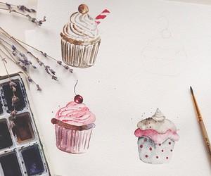 art, cupcake, and drawing image