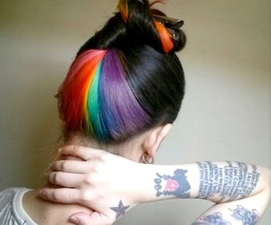 hair, tattoo, and rainbow image