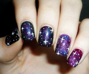 galaxy, nails, and nail art image