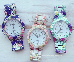 watch, flowers, and fashion image