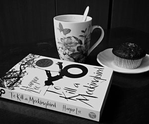 black and white, book, and coffe image