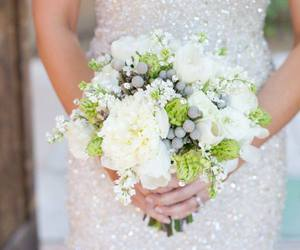 wedding, flowers, and dress image