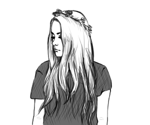 flower crown, girl, and pale image