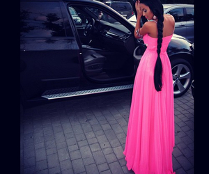 dress, pink, and long hair image