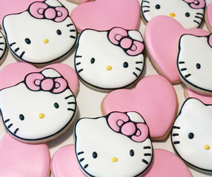 hello kitty, pink, and Cookies image