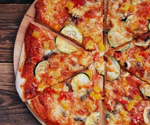 food, pizza, and pizzas image