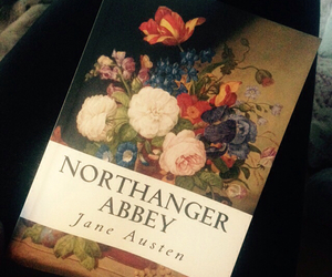jane austen, reading, and northanger abbey image