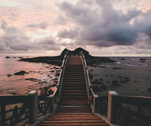 bridge, clouds, and landscape image