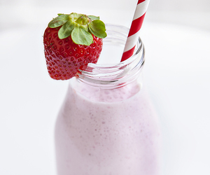 strawberry, cream, and drink image