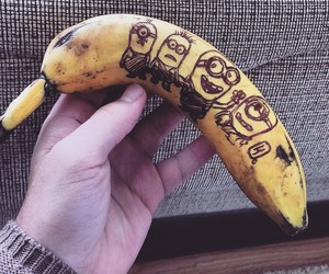 art, banana, and bored image