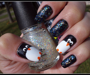 awn, nail art, and pinguin image