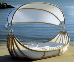 bed, beach, and sea image