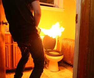bathroom, boy, and fire image