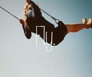 fly, girl, and sky image