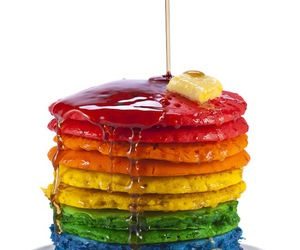 pancakes, rainbow, and food image