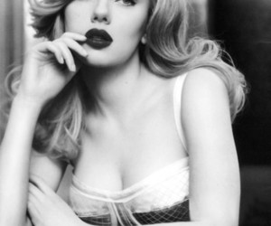 Scarlett Johansson, black and white, and sexy image