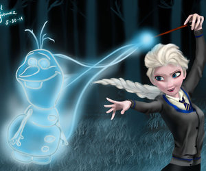 harry potter, olaf, and elsa image