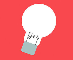 yes, lightbulb, and pink image