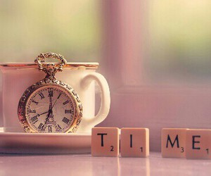 time, clock, and tea image