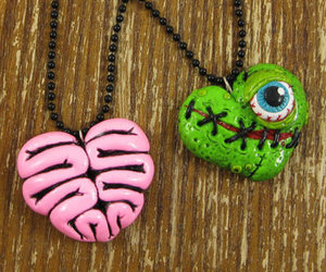 necklace, zombie, and brain image