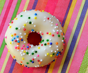 doughnuts, sprinkles, and rainbow image