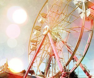 ferris wheel, pink, and fun image