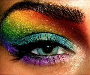 rainbow, makeup, and eye image