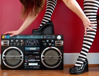 girl, music, and boombox image