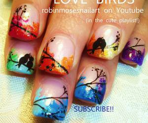 nails, bird, and nail art image